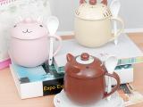 创意立体卡通陶瓷杯 带盖勺杯 牛奶咖啡杯 动物马克水杯 杯子批发