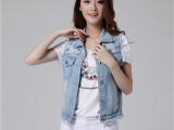 韩版女装2015春装新款修身铆钉破洞无袖牛仔外套马甲背心 春季女