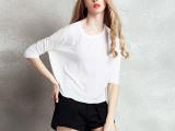 夏装短袖女t恤2015夏装新款韩版宽松蝙蝠袖上衣套头七分袖打底衫