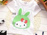 夏季儿童纯棉短袖卡通印花肩扣男女童半袖汗布半袖韩版童装T恤