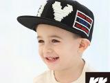 帽子批发 儿童帽子 韩版大写字母I平沿帽