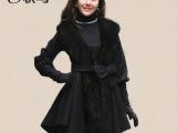 2014新款韩版时尚秋冬季女装修身长款高仿狐狸毛羊绒大衣裙摆外套