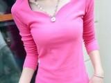 W3146韩版女装螺纹长袖打底衫上衣花瓣V领T恤修身百搭t恤女潮