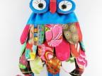 云南民族特色布艺羽毛片猫头鹰包 拼布儿童包 双肩包 民族风背包