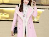 2014韩版秋冬装新大衣双排扣拼接毛呢外套女中长款呢外套女