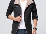 2014冬装新款 男士韩版休闲羊毛呢大衣 毛呢大衣男风衣 潮外套
