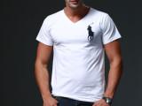 外贸原单品质男装T恤v领大马标休闲纯棉桃领t恤汗衫大码短袖t恤