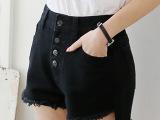 2015夏新款抓破黑白色高腰牛仔短裤女复古显瘦毛边裤分销一件代发