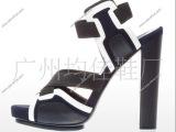 2012新款凉鞋女鞋 鱼嘴凉鞋拼色铆钉真皮带扣超高跟粗跟凉鞋