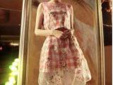 韩国东大门夏装新款欧根纱印花修身无袖格子套装