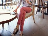 韩国原单粉红色女式牛仔裤 甜美心型女装长裤 糖果色女小脚铅笔裤