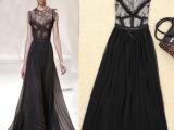2014夏女装新款 欧美 贴布 蕾丝拼接长裙连衣裙|明星同款连衣