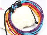 韩版时尚手链 明星杂志款手工编织多层夸张手绳 非主流热卖皮手链