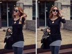 新款韩版女装长袖长款纯色打底衫时尚t恤不规则下摆