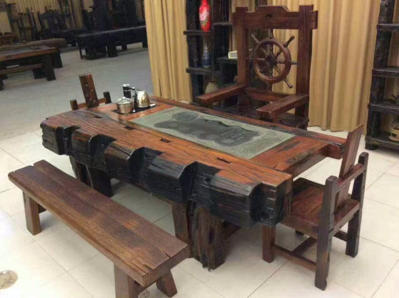 老船木家具炮筒茶桌船尾螺旋桨茶台茶几免漆效果