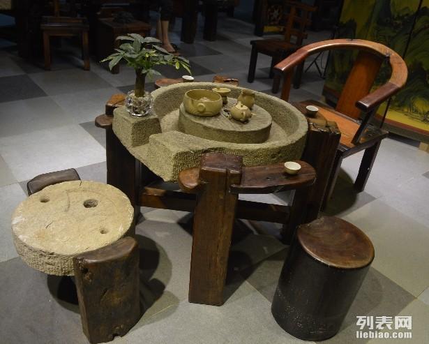 保亭市老船木茶桌椅子仿古茶臺實木沙發茶幾餐桌辦公桌家具博古架