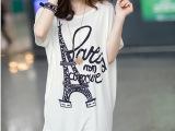 批发韩版宽松大码女装莫代尔胖MM蝙蝠衫短袖女式铁塔印花T血上衣