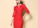 2014夏装新款欧美风蕾丝刺绣红色结婚礼服连衣裙修身欧美女装批发