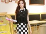 夏季新品韩版 潮流黑白格拼接雪纺假两件套娃娃领 连衣裙 女式