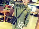 秋冬装新韩版棒球服外套潮学院风宽松字母BF大衣女中长款女式风衣