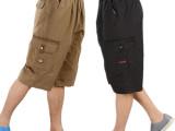 男士夏季宽松休闲七分裤棉工装多袋裤松紧中老年中裤舒适吸汗透气