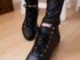 2013新品女式系带高帮单鞋女鞋 欧美圆头柳钉纯色小皮鞋 皮鞋批
