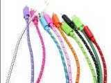 编织彩色尼龙布线Micro接口三星华为小米充电数据线5pin厂家