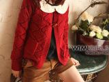 2012秋季新款 森女系 外贸日单 牛角木扣 红色毛衣外套