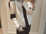 秋装韩国新款黑白撞色休闲运动棒球衫短外套