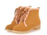前系带雪地靴 冬季时尚毛毛防冻低筒女靴