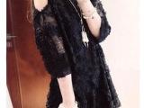 秋装新款女装韩国代购轻薄立体蕾丝花朵露肩中袖连衣裙