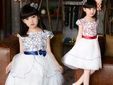 童装 2015韩国品牌夏款新装外贸女童公主裙连衣裙短袖儿童蓬蓬裙