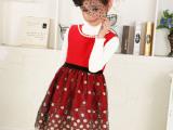 最新发布2014春节礼物女童公主裙、呢子马甲裙、高档绣金连衣裙