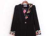 2014秋装新款女装 韩版修身碎花翻袖小西装女 v领小西服女式外