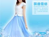 2014夏装新款淑女圆领短袖大摆型气质修身显瘦中长款连衣裙