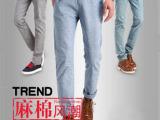 新塘 厂家直销 2014新款 春夏亚麻男式休闲裤 舒适运动裤 裤