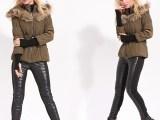 2013冬B家棉衣冬季 英伦风纯色长袖带毛领绑带针织袖加厚棉衣服