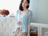 女装2014新款 韩版女式镂空针织开衫纯棉空调衫防晒长袖外套毛衣
