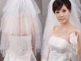 批发新娘结婚纱礼服头纱T114四层短款散粘珠爱心头沙厂价直销