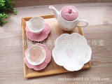 zakka日式和风礼盒装陶瓷樱花下午茶茶具套装茶壶杯碟玫瑰花果盘