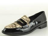 2014新款马毛牛皮外贸女单鞋时尚甜美牛皮漆皮小尖头低跟女士单鞋