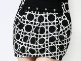 诗尔琦 品牌秋季新款短裙 中高腰烫钻韩版黑白显瘦包臀裙半身裙