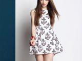 欧美品牌潮流款高端女装春夏季新品代理加盟印花真丝连衣裙0203