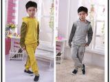 童套装 2014潮流中大男童 纯棉条纹卫衣撞色男童两件套广东产地