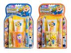 韩国进口 儿童2牙刷+牙膏+牙杯套装 啵乐乐宝宝漱口4件套盒