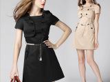 欧美时尚新款 圆领短袖修身连衣裙纯色假两件套 品质女装代理加盟
