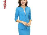 女装2014季新款韩版两件套 女士高端缎面时尚职业休闲套装女潮