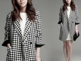 2014秋季宽心女装韩版时尚千鸟格大衣中长款小西装大码毛呢外套
