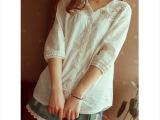 日系森女系小清新蕾丝花边拼接娃娃衫中袖衬衫 女