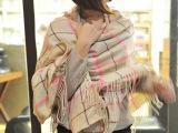 含羊毛 韩版撞色格子流苏大围巾披肩 英伦学院风少女系列围巾 女
